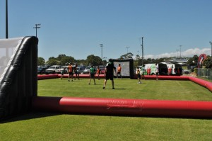 Teams took turns playing in the blow-up field.